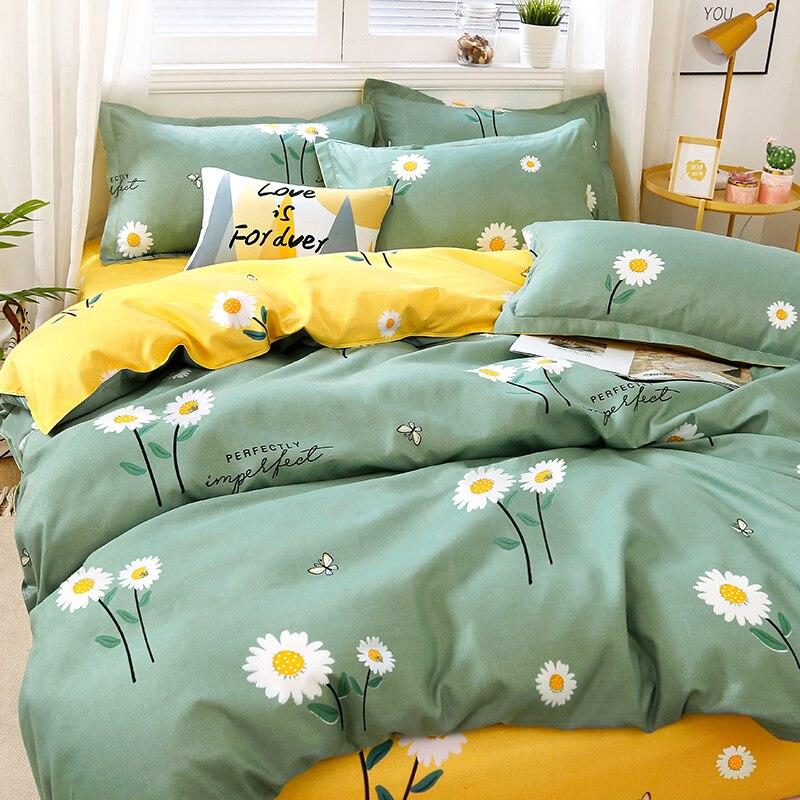 غطاء سرير غطاء وسادة لحاف 4 قطع مجموعة الدمل سهلة التنظيف والغبار واقية في أرباع السكنية الصيف