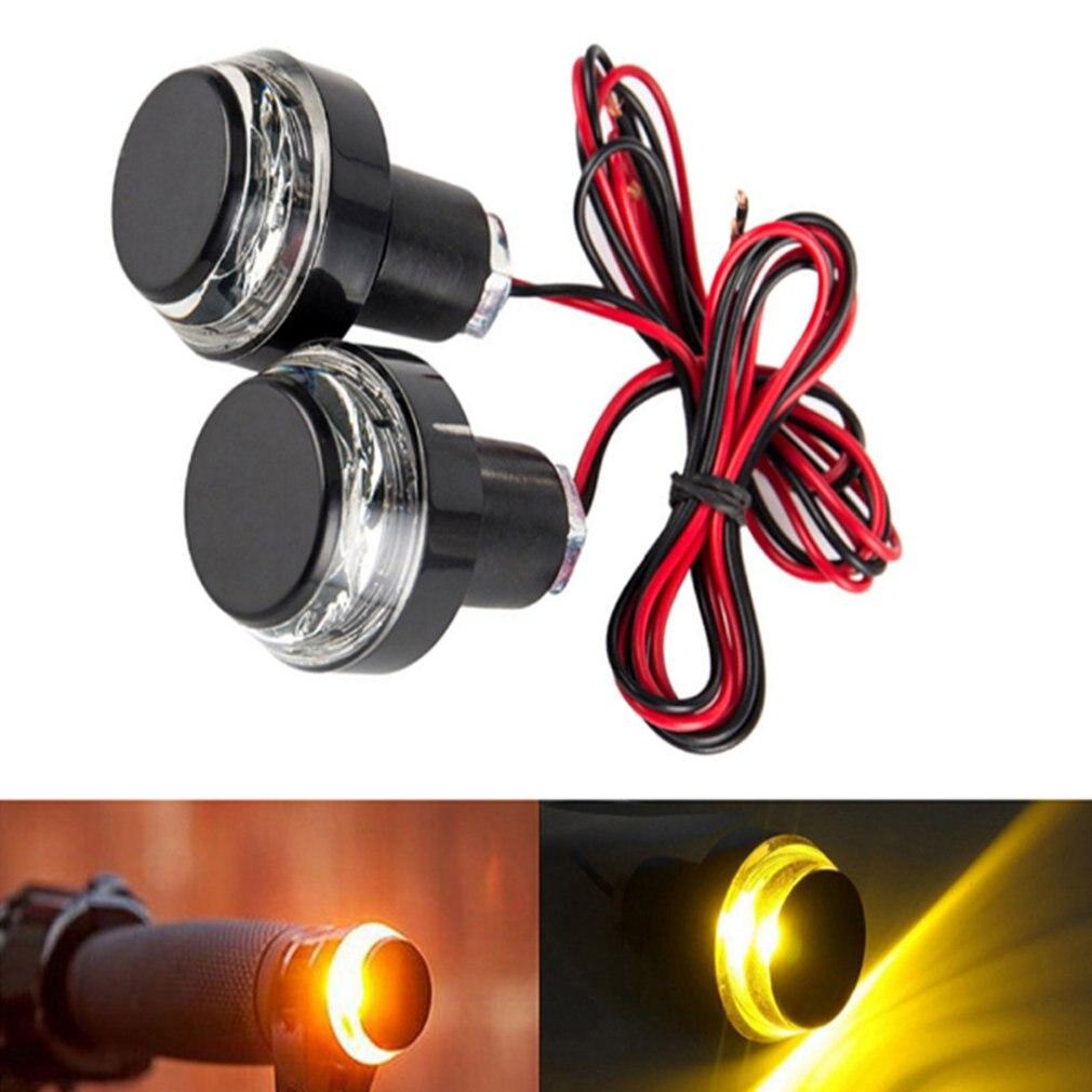 Novo 2 pçs 12 v guiador da motocicleta final led turn signal luz moto lidar com barra de aperto direção lateral lâmpada luz modificado quente