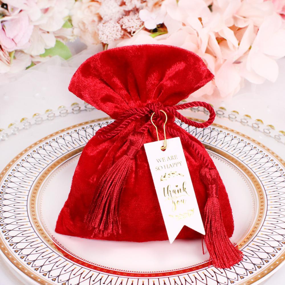 Bolsas de terciopelo azul/Rojo/burdeos, embalaje de joyería, pequeño cordón ajustable, regalo, boda bolso caramelo, bolsas de Favor
