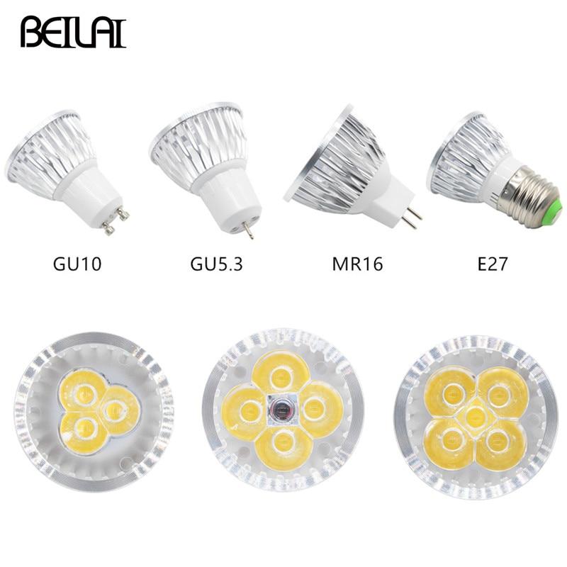 Kısılabilir LED spot GU10 3W 4W 5W 85-265V Lampada LED lamba E27 220V 110V GU5.3 Spot mum Luz LED ampuller MR16 DC 12V aydınlatma