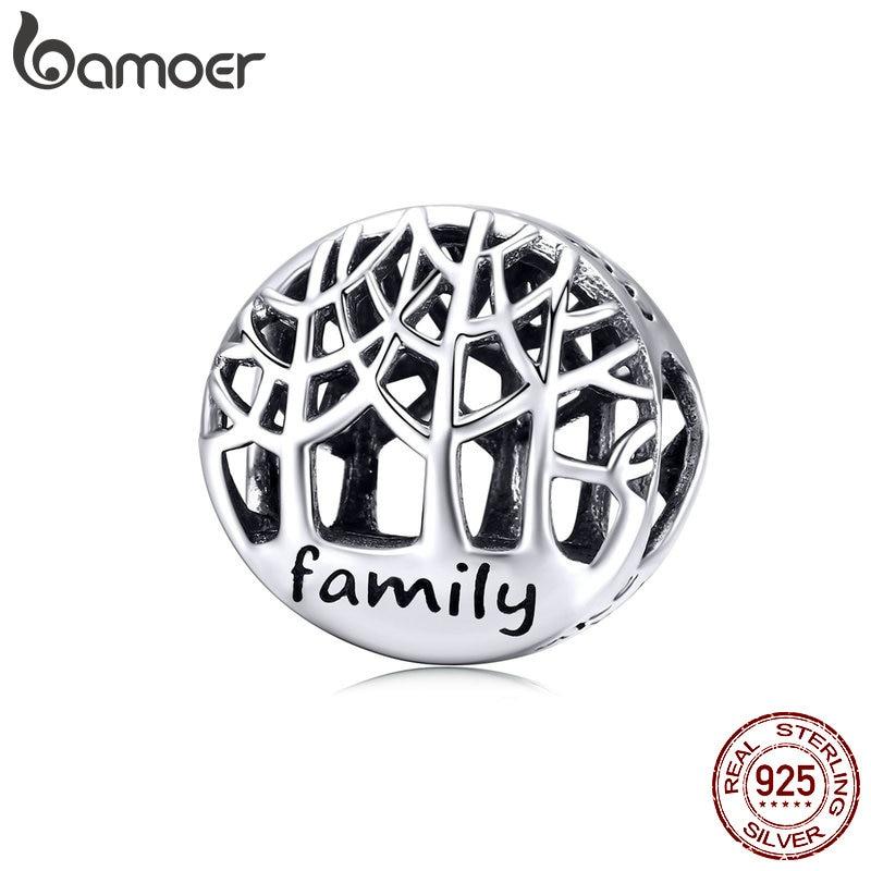 Cuentas redondas de árbol de la vida de BAMOER, abalorios de Plata de Ley 925 con árboles familiares para regalos europeos, joyería de marca de lujo DIY SCC1144