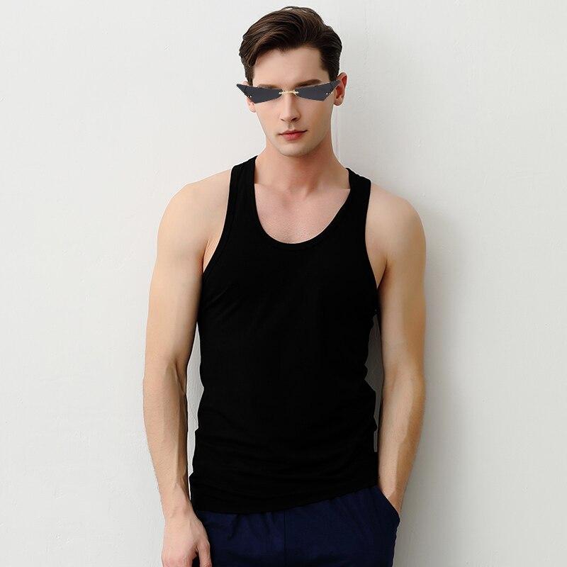 Rimless Sunglasses Men's Glasses 2021 Fashion Polar Triangular Colored Polarizing Glasses 400% Party