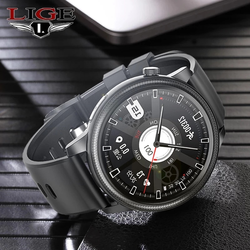 LIGE ساعة ذكية للرجال IP67 مقاوم للماء 1.28 بوصة شاشة ECG Ppg Smartwatch القلب إيقاع ضغط الدم رصد جهاز تعقب للياقة البدنية