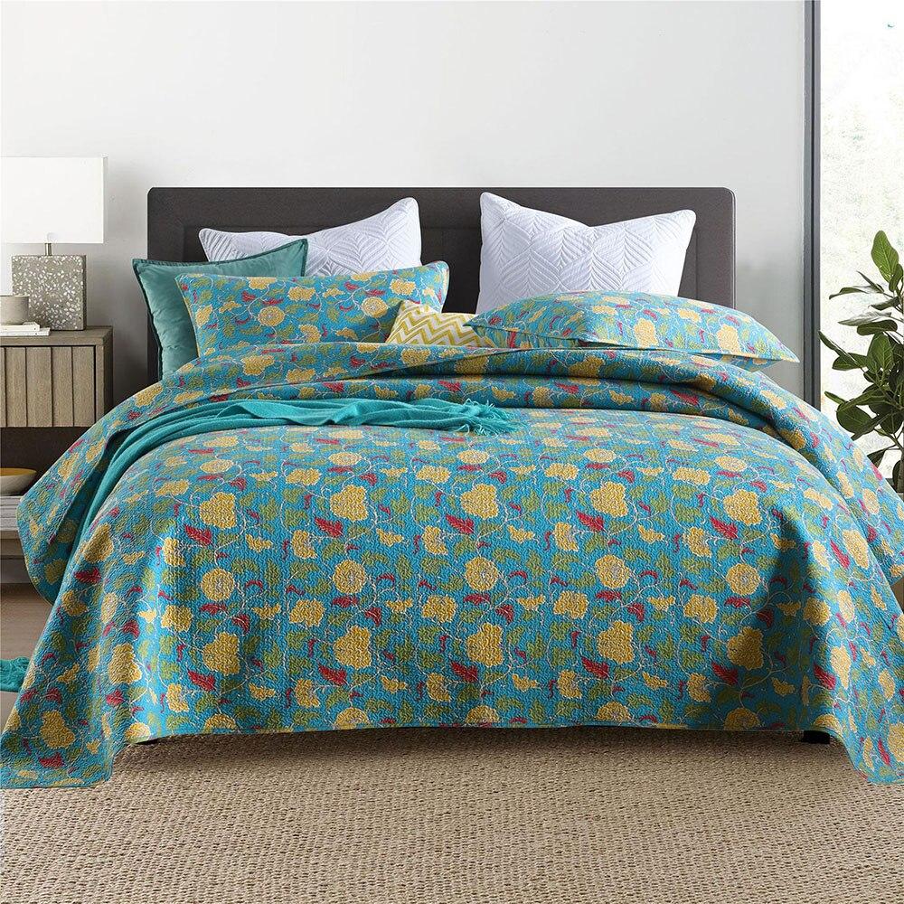 بطانية على السرير القطن لحاف المفرش ل سرير مزدوج غطاء 3 قطعة مجموعات مبطن وسادة حالة الملكة حجم الصيف غطاء السرير CHAUSUB