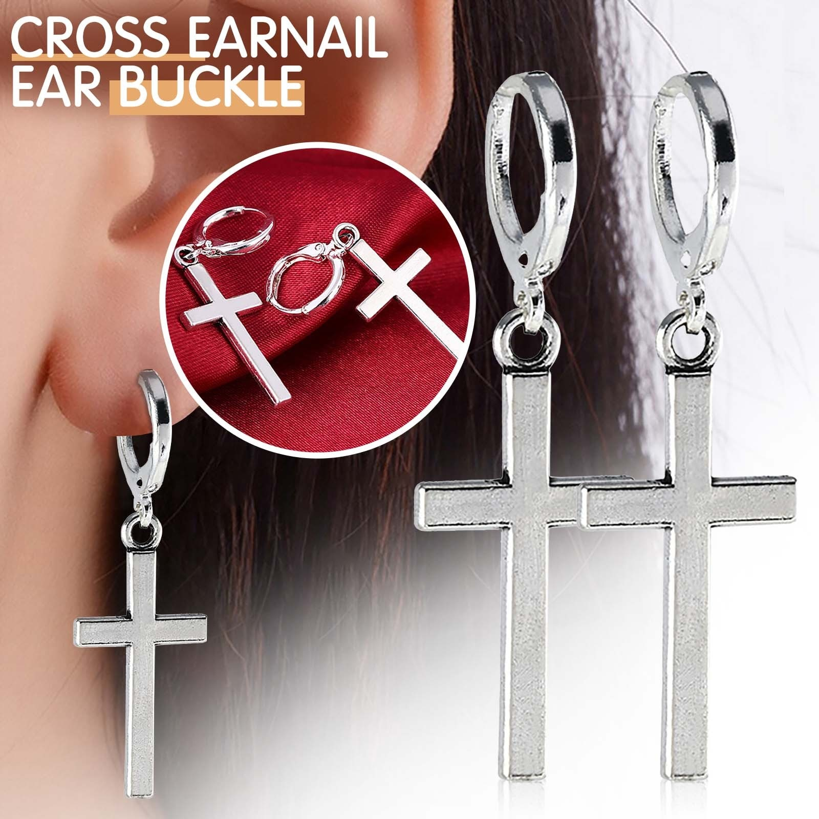 New Product Figurines & Miniatures Non-pierced Clip On Cross Dangle Hoop Earrings Set, Stainless Steel No Piercing Decorations