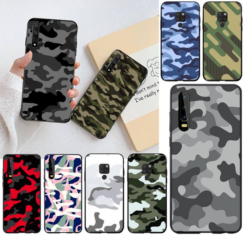Camuflagem padrão camo militar do exército caso telefone para huawei p40 p30 p20 lite pro companheiro 30 20 p inteligente 2020 prime