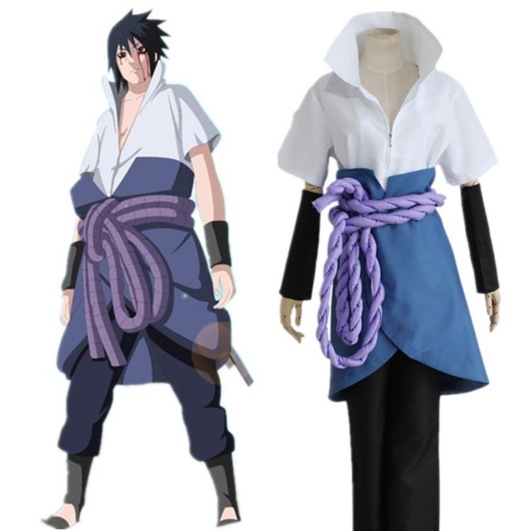¡Oferta! Disfraz de Naruto Uchiha Sasuke, disfraz de Anime Naruto Uchiha Sasuke, peluca, zapatos, disfraz de Halloween, fiesta de halloween