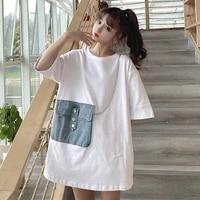 korean loose tshirt women stitching denim fried pockets summer streetwear harajuku casual solid cotton women top women clothing