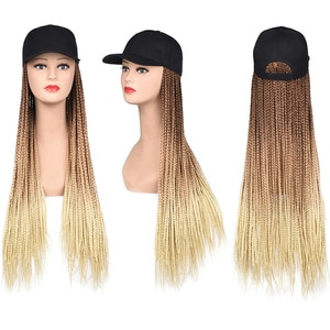 Baseball Cap With Hair Long Ombre Braided Box Braids 24inch Synthetic Hair Extensions Hat With Hair Natural Hairpiece For Women