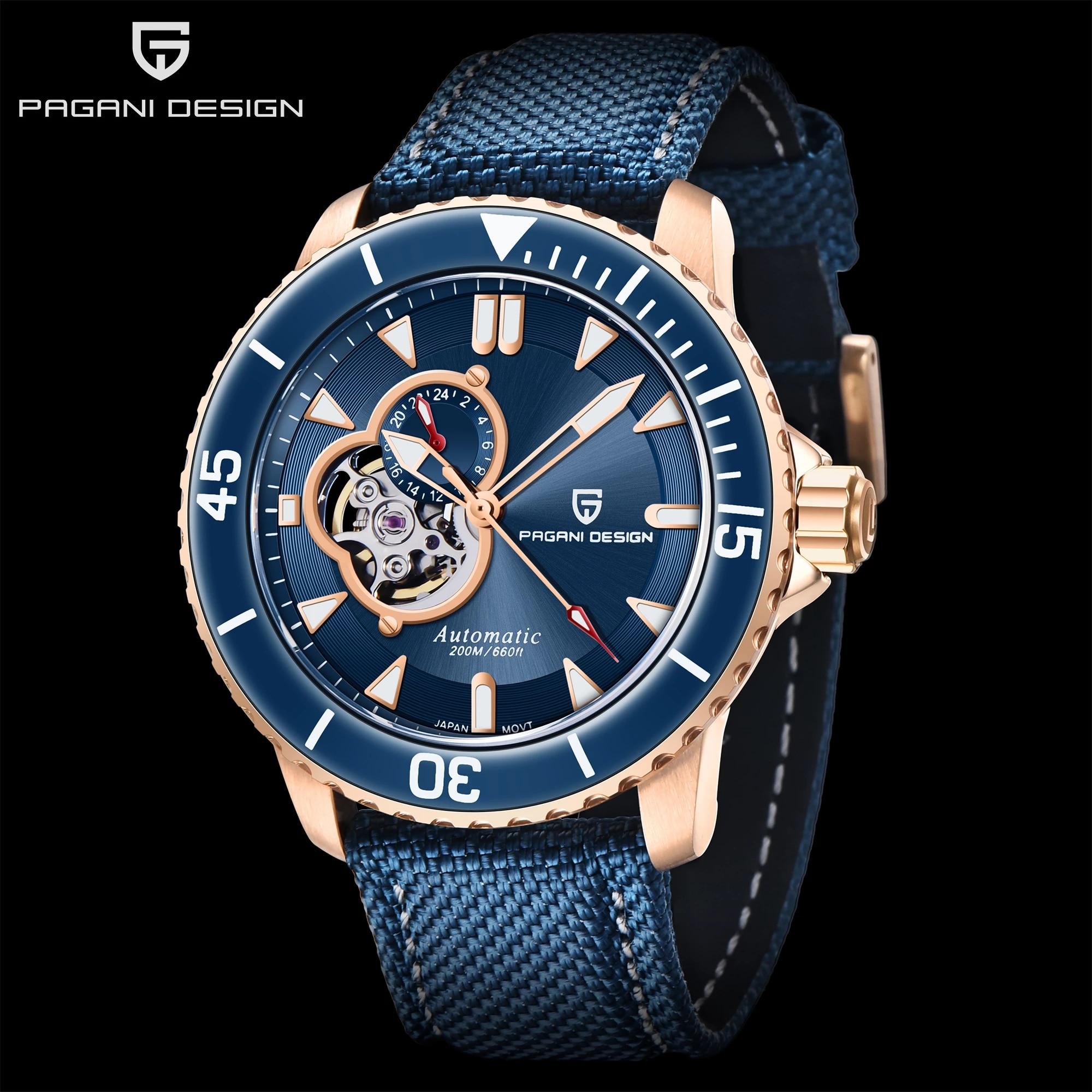 باجاني تصميم توربيون الفاخرة الرجال الساعات الميكانيكية النايلون ساعة غوص الرجال NH39 مضيئة 100 متر مقاوم للماء رجال الأعمال ساعة