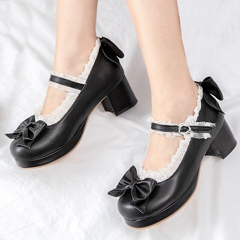 AGODOR-حذاء لوليتا نسائي ، حذاء ماري جين ، كعب عالي ، منصة ، مضخات تأثيري ، وردي ، مقاس كبير 45
