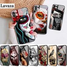 227d mexicain crâne fille tatoué Art verre coque de téléphone pour Apple iPhone 11 Pro XR X XS Max 6 6S 7 8 Plus 5 5S SE