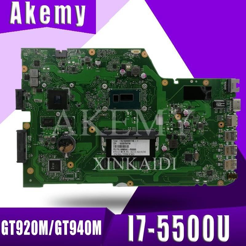 X751LJ X751LB placa base para ASUS X751L K751L K751LD R752L X751LN X751LD i7-5500U 4GB CPU portátil placa base GT920M/GT940M