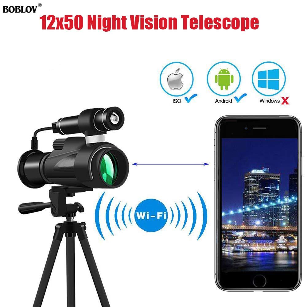 جهاز للرؤية الليلية المصغرة 12x50 واي فاي الأشعة تحت الحمراء للرؤية الليلية أحادي العين + حامل هاتف للصيد التخييم