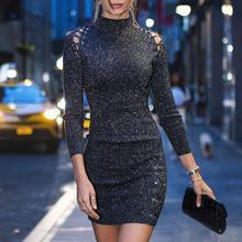 New Style Women Elegant Fashion 2020 Trendy Stylish Party Mini Casual Dress Lace-Up Eyelet Long Sleeve Bodycon Dress