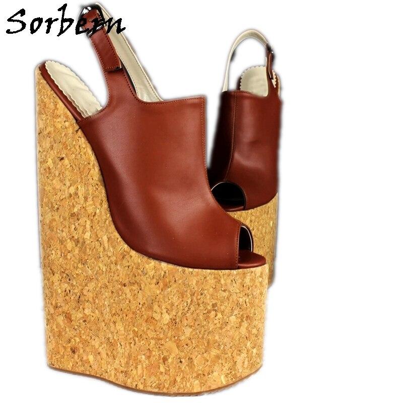 Sorbern-حذاء بكعب عالٍ مع منصة وكعب عالٍ ، حذاء بمقدمة مفتوحة ، بنمط كروسدرسر زهري ، مقاس 30 سنتيمتر