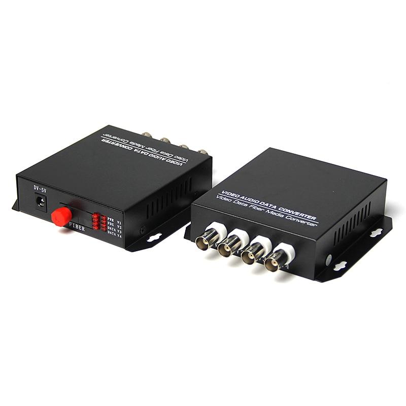 One Pair 20KM Single Mode Single Fiber Desktop 4 Channel Fiber Optic Video Converter FC connector enlarge