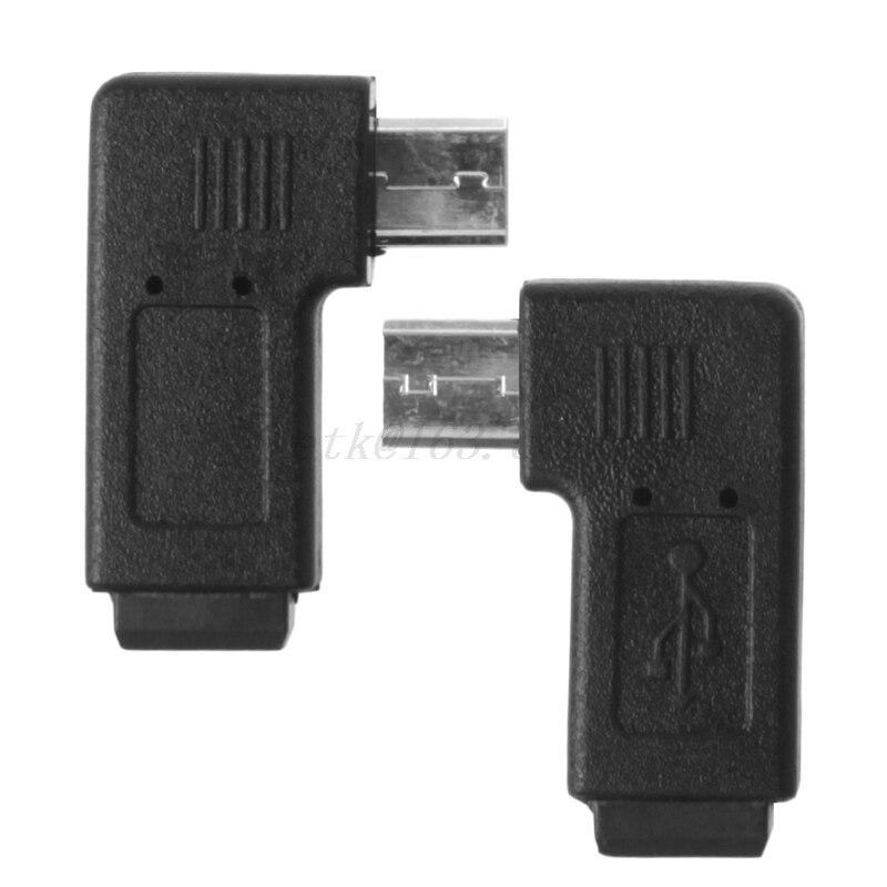 Adaptador de sincronización de datos Mini USB de 90 grados con ángulo izquierdo y derecho 5 pines conector hembra Micro USB