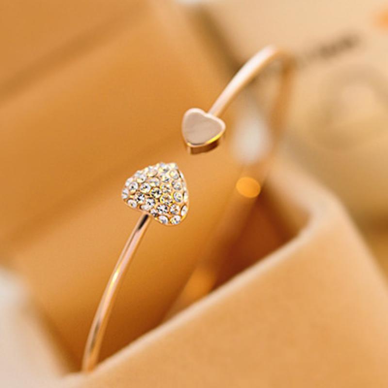 Moda cheia de diamante coração-em forma de pêssego pulseira aberto banhado a ouro diamante amor pulseira duplo coração pulseira prata/rosa ouro