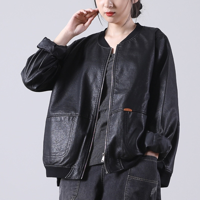 LIMINDSPCXQQ الخريف فو سترات من الجلد إمرأة أسود عارضة فضفاض بو معطف الكورية أزياء الإناث سحابات الشرير نمط الشارع الشهير