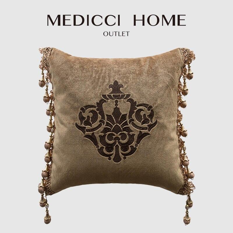 غطاء وسادة طبي مع ثريا ، غطاء وسادة مطرز دمشقي ، بني ، مخملي ، أوروبي ، لغرفة المعيشة
