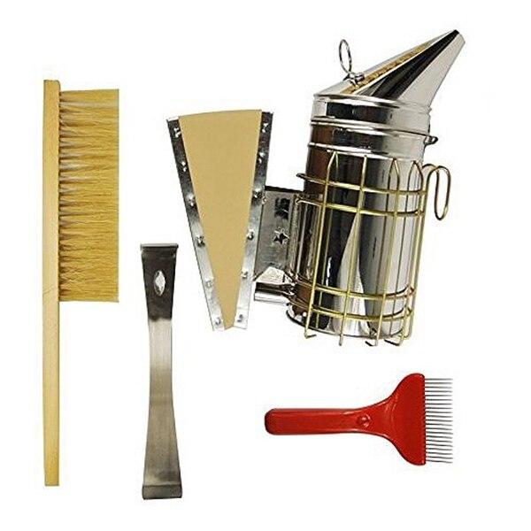 Juego de 4 herramientas de apicultura, herramienta de colmena de acero inoxidable, cepillo de abeja, ahumador, horquilla extractora de cera de Peine