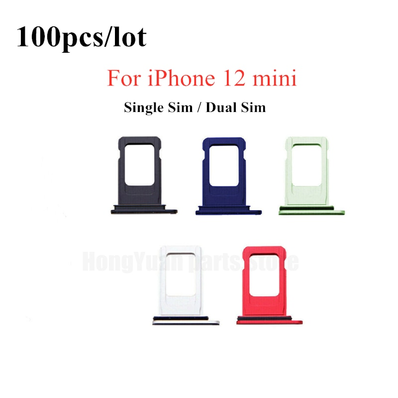 100pcs/lot Dual Single SIM Card Tray Holder For iPhone 12 Mini SIM Card Slot Reader Socket Adapter With Waterproof Rubber Ring