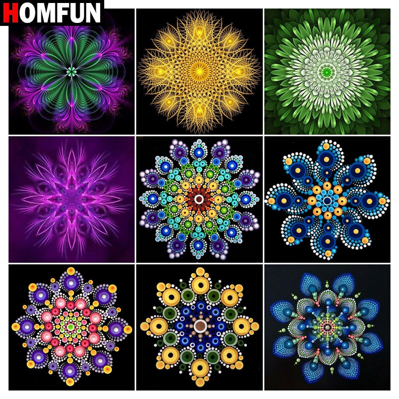 Cuadro de diamantes HOMFUN, caleidoscopio de Mandala, taladro cuadrado completo/redondo, decoración de pared, bordado de resina con incrustaciones, manualidades con punto de cruz