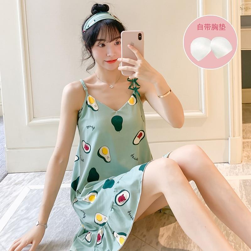 Nuevo vestido de noche de verano para mujer, camisones de talla grande con estampado de dibujos animados, camisón sin mangas, Camisón de algodón, ropa de dormir