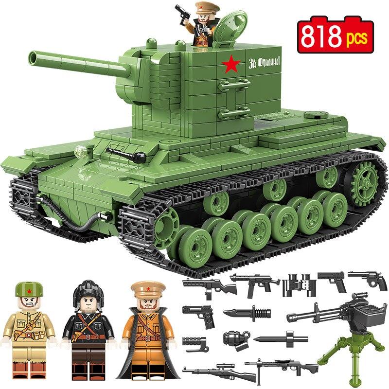 818 Uds. Tanque de bloques de construcción militar soviético Rusia KV 2 Compatible Lepining la ciudad WW2 soldado policía arma ladrillos juguetes para niños