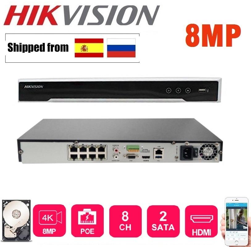 4K Hikvision DS-7608NI-K2/8P DS-7616NI-K2/16P English version 8/16POE ports  NVR with 2SATA plug & play H.265
