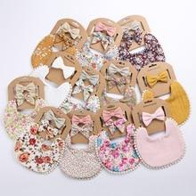 12Sets/Lot Baby Tassel Saliva Towel Headband Floral Vintage Newborn Photography Double Side Bibs Boys Girls Props Bandana Burps