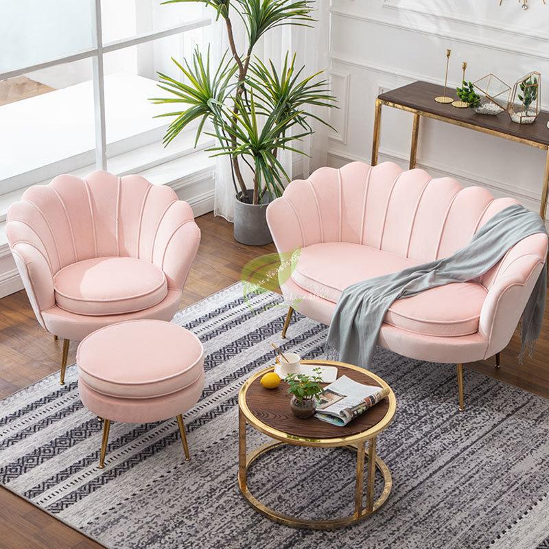 الوردي الذهبي الحديد المعادن المخملية الملكي تاج واحد مزدوج ثلاثة مقاعد أريكة خلع الملابس كرسي القهوة غرفة المعيشة حديقة الأميرة الأمير