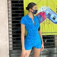 Y2K Summer Playsuit Women Short Sleeve Romper Sexy Bodycon Female Blue Jaded Casual London Green Bod