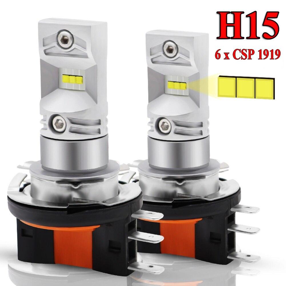 2 Pcs H15 CSP 6SMD LED Headlight DRL Car Fog Daytime Running Light Bulb 6000K White