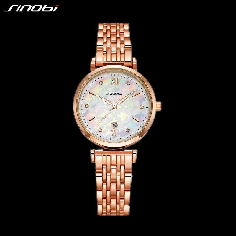 Модные Sinobi Shell Face повседневные женские часы Роскошные элегантные женские кварцевые наручные часы из нержавеющей стали для девушек золотые ...