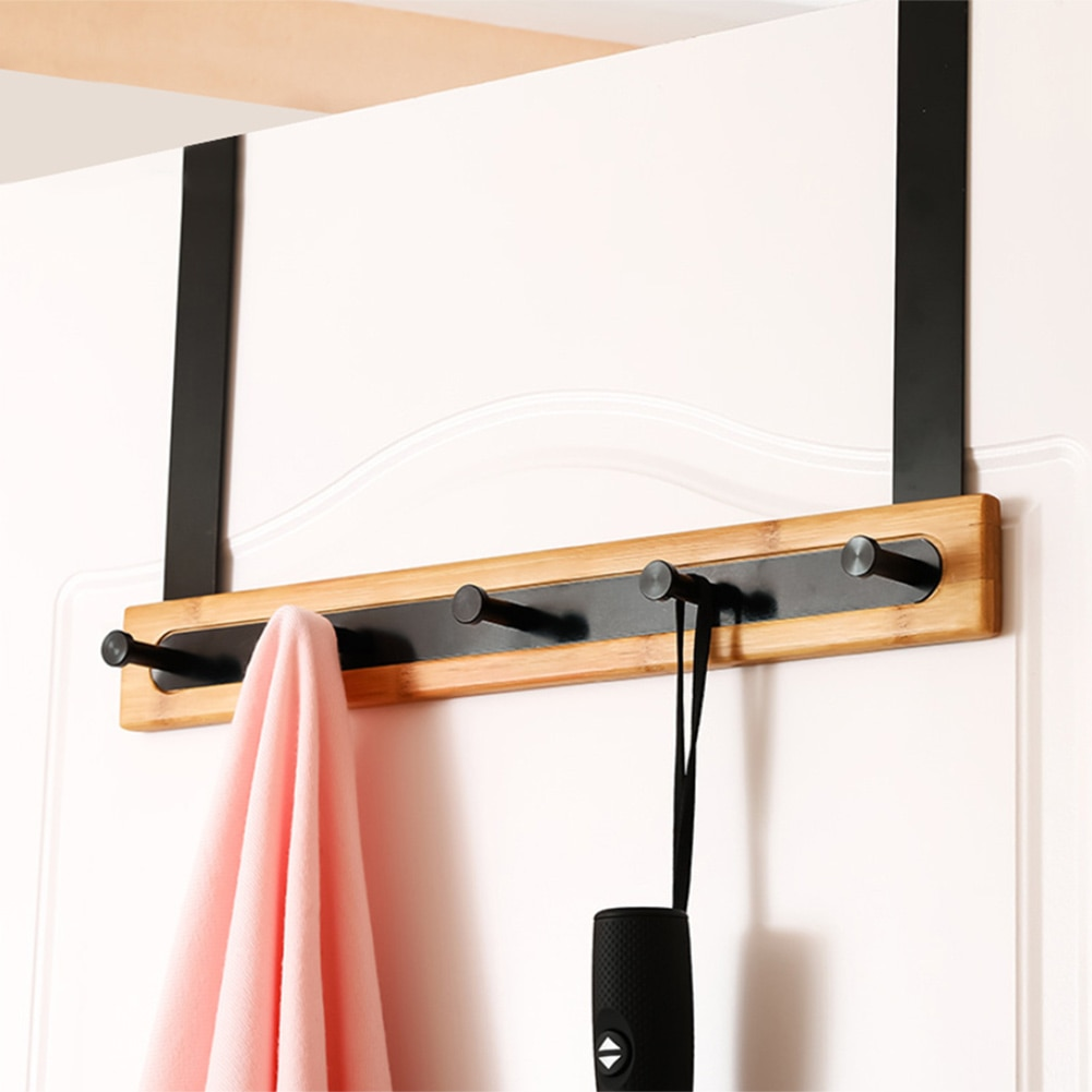 Puerta trasera estante de bambú aluminio 5 ganchos multifunción gancho colgante sin rastro para toallas albornoces pijamas FPing