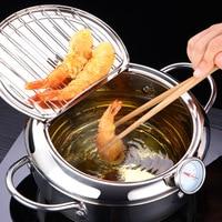 Японская глубокая жарочка LMETJMA KC0405, термометр с крышкой 304, нержавеющая сталь, кухонная температура сковорода для жарки, 20, 24 см