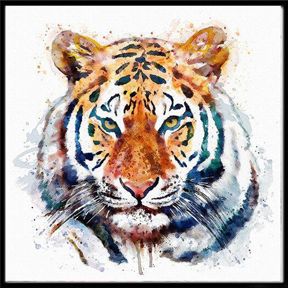 DIY 5D diamante pintura Animal Tigre redondo diamantes de imitación bordado Color...