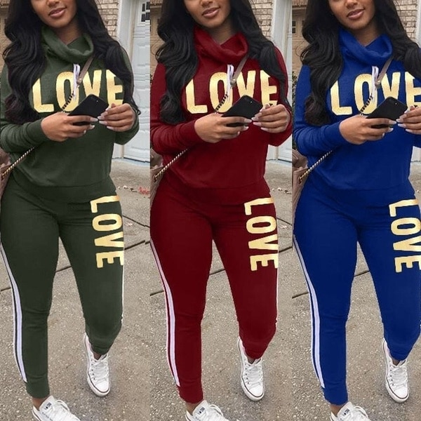 Conjunto de duas peças de treino feminino streetwear carta de amor impressão conjuntos de roupas esportivas manga longa alta pescoço mulher moletom conjunto