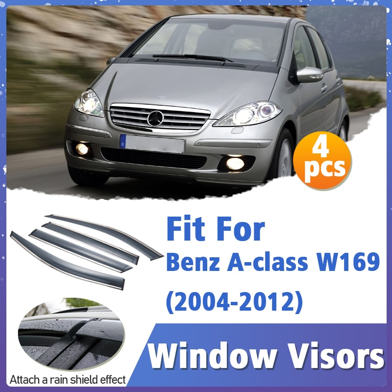 Window Visors Guard for Benz A-class W169 2004-2012 Cover Trim Awnings Shelters Protection Guard Deflector Rain Rhield 4pcs