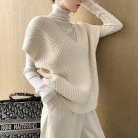 2021 new winter autumn women sweaters pullovers korean style sleeveless vest waistcoat vintage oversize wild knitwear tops white