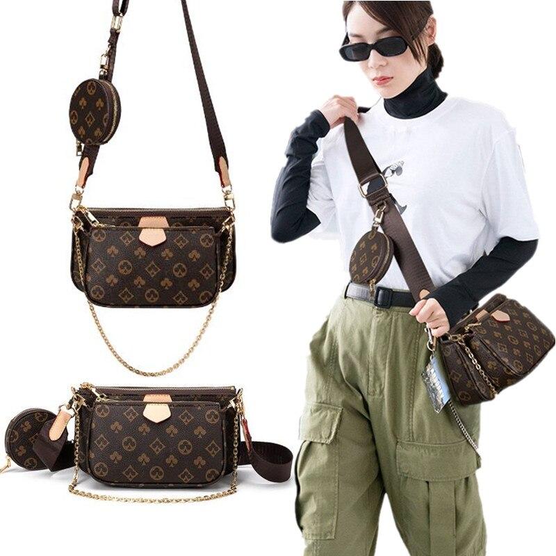 AliExpress - Fashion Brand Designer women bag 3-IN-1 Messenger Handbag Tote Leather Floar Crossbody handbag New Shoulder Bag Clutch purse