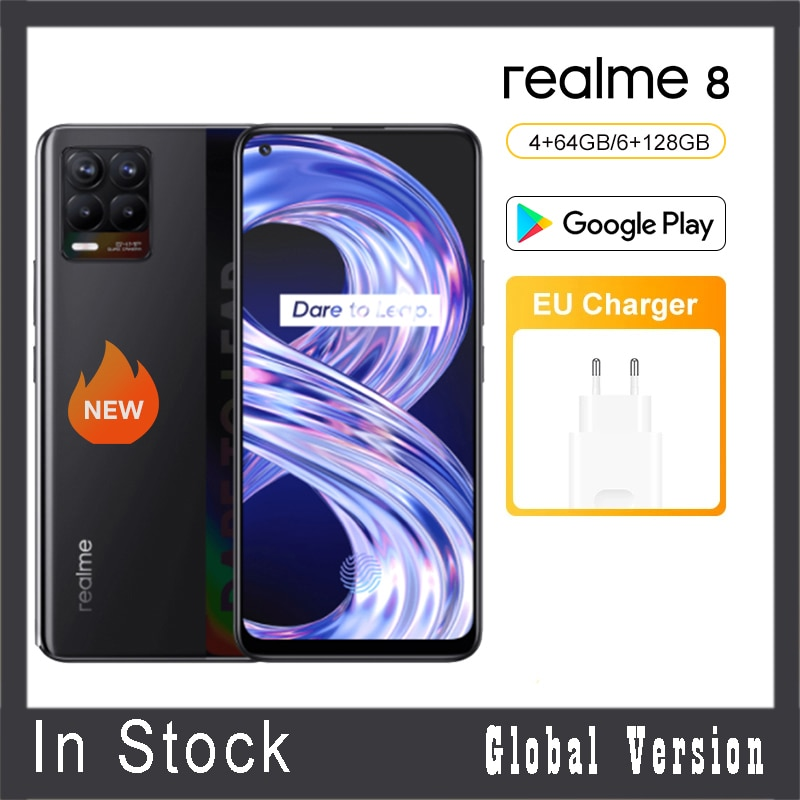 النسخة العالمية realme 8 الذكي 64GB 128GB 64MP 30W دارت تهمة رباعية كاميرا هيليو G95 6.4 'AMOLED شاشة 5000mAh