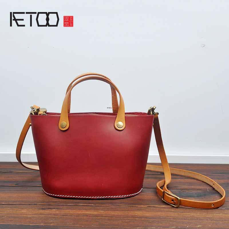 AETOO 2017 new original hand-made tannage leather retro veneer bag leather leather Japan and South Korea zipper messenger bucket