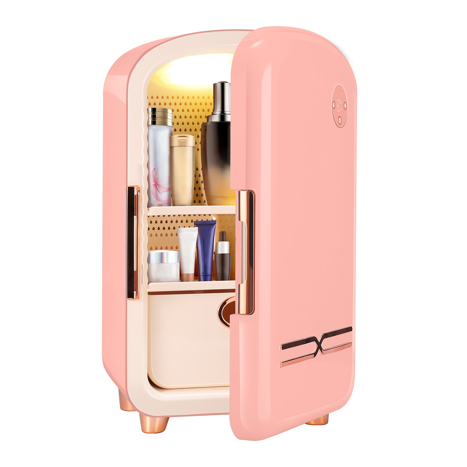 12L Kawaii Mini Makeup Fridge Portable Cosmetic Refrigerator Compact Glass Panel Led Light Cooler Warmer Freezer Home Car Use