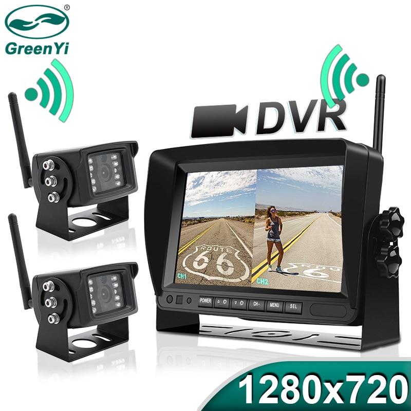 """Greenyi 1280x720 alta definição ahd caminhão dvr monitor sem fio 7 """"visão noturna gravador de backup reversa câmera wifi para ônibus carro"""