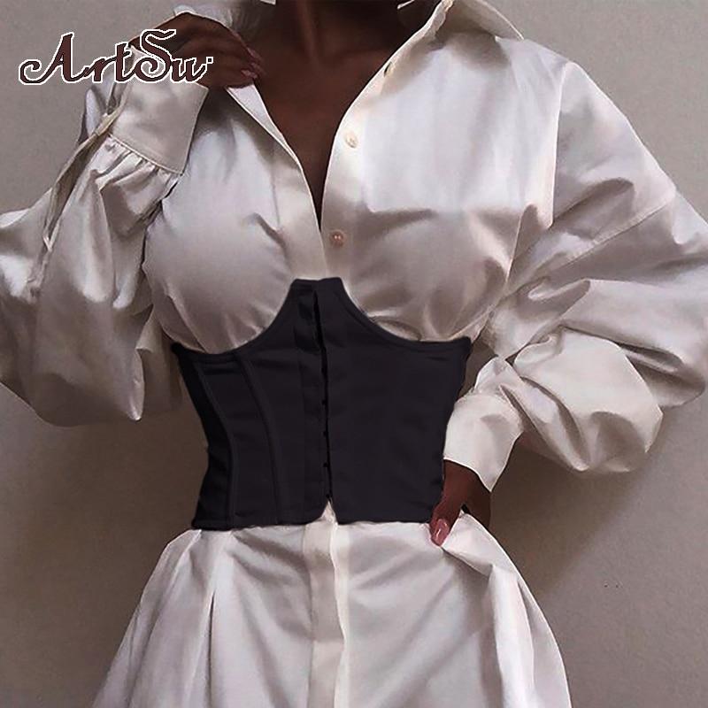 ArtSu Ultra Super Wide Belt With Bone Elastic Corset Belt Winer Autumn Clothes Tops Female Tank Top