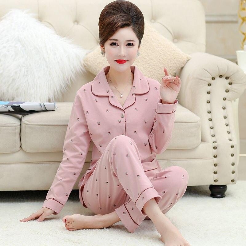 Женские пижамные комплекты из 100% хлопка, с длинными рукавами