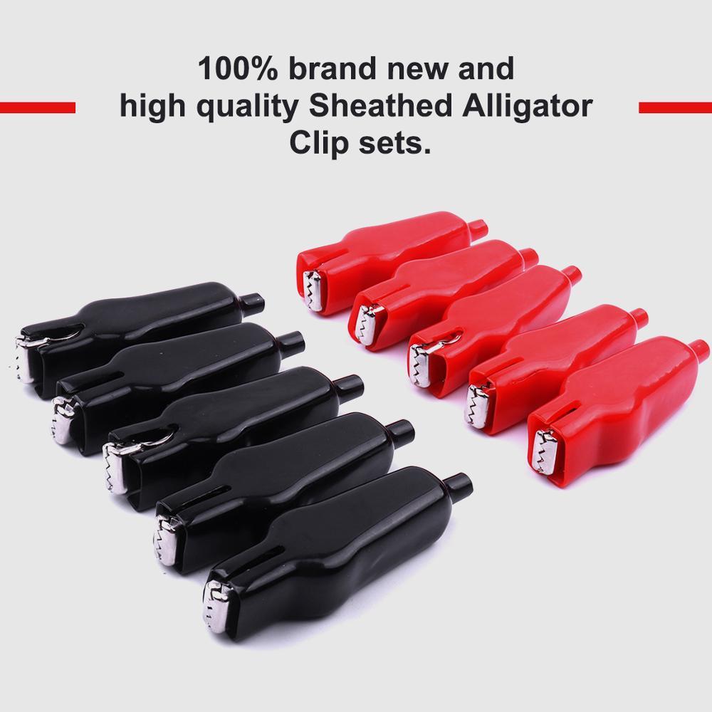 Hot 20PCS Schwarz Rot MAX 20A Testing Probe Alligator Clips Doppelseitige isolierte PVC Krokodil Clips für Elektrische Jumper draht